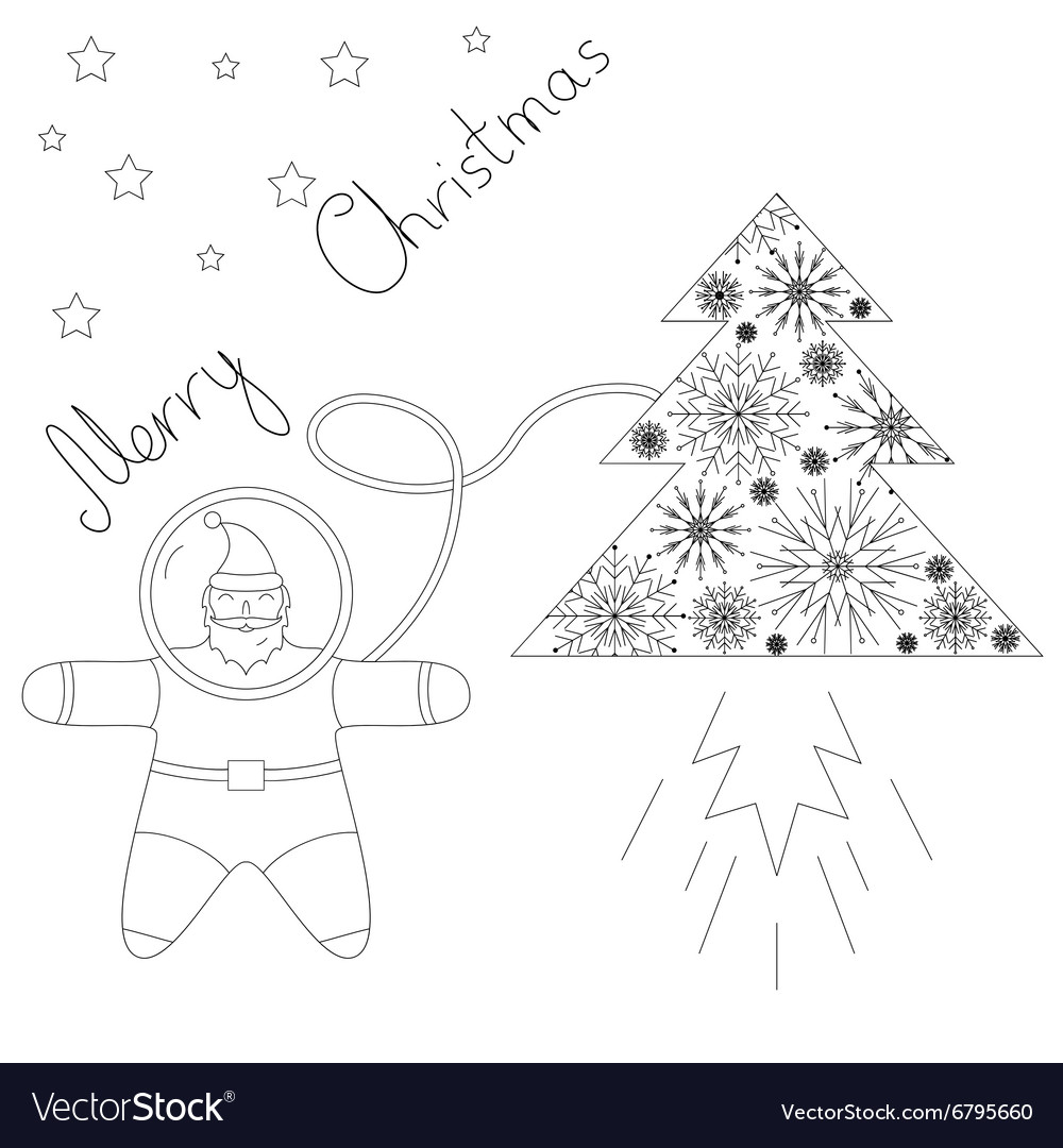Santa is flying in space near his rocket tree vector
