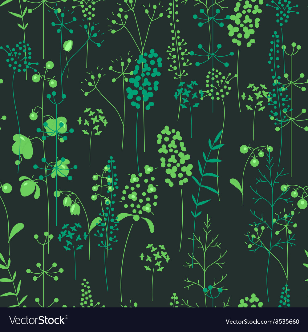 Seamless pattern with stylized herbs and plants vector