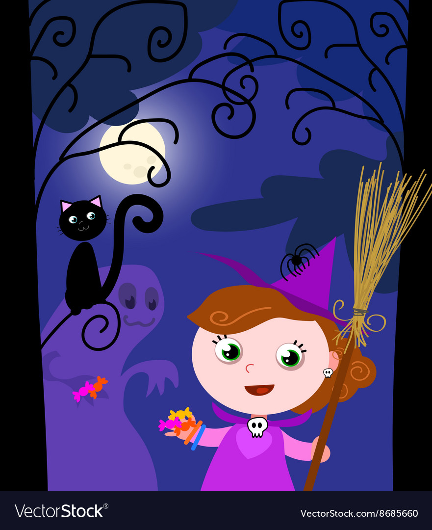 Young halloween witch and cute monster vector