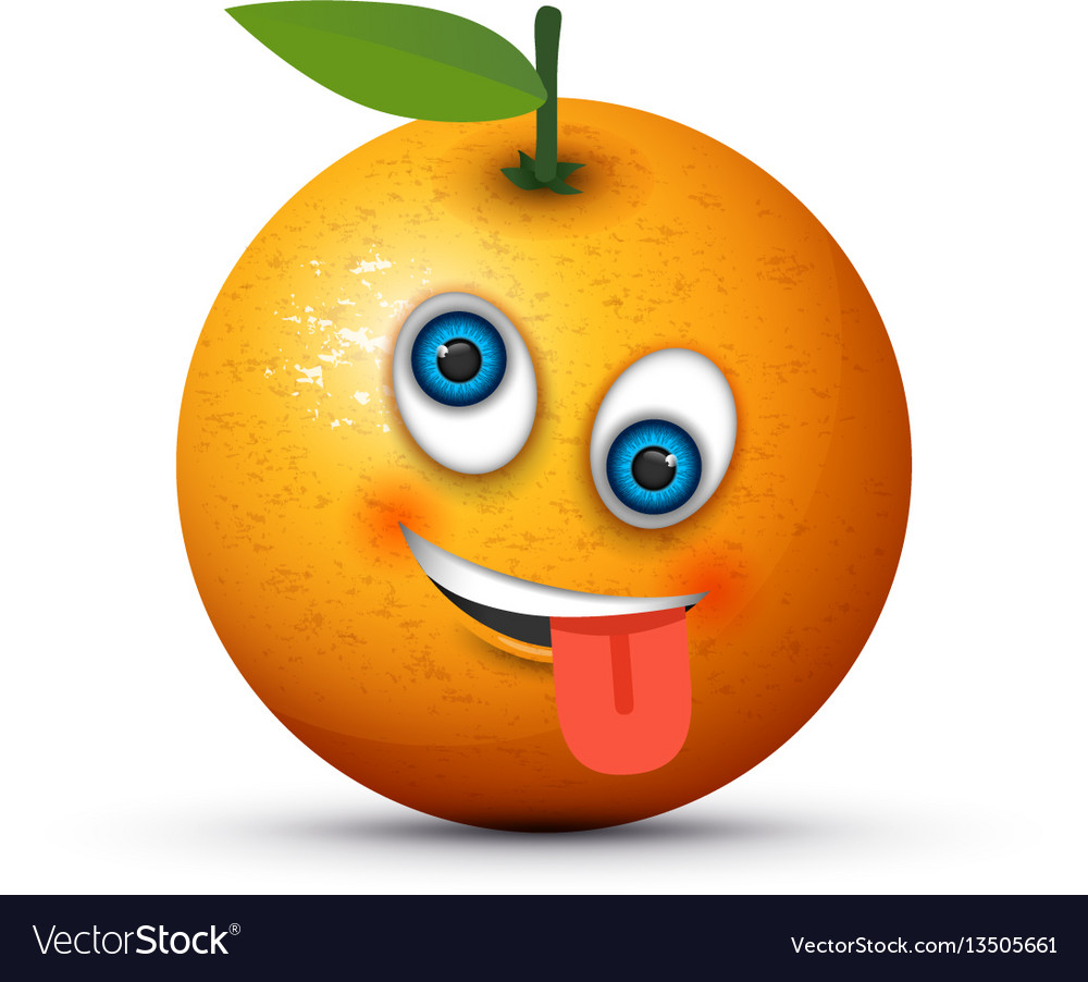 Orange crazy emoji vector