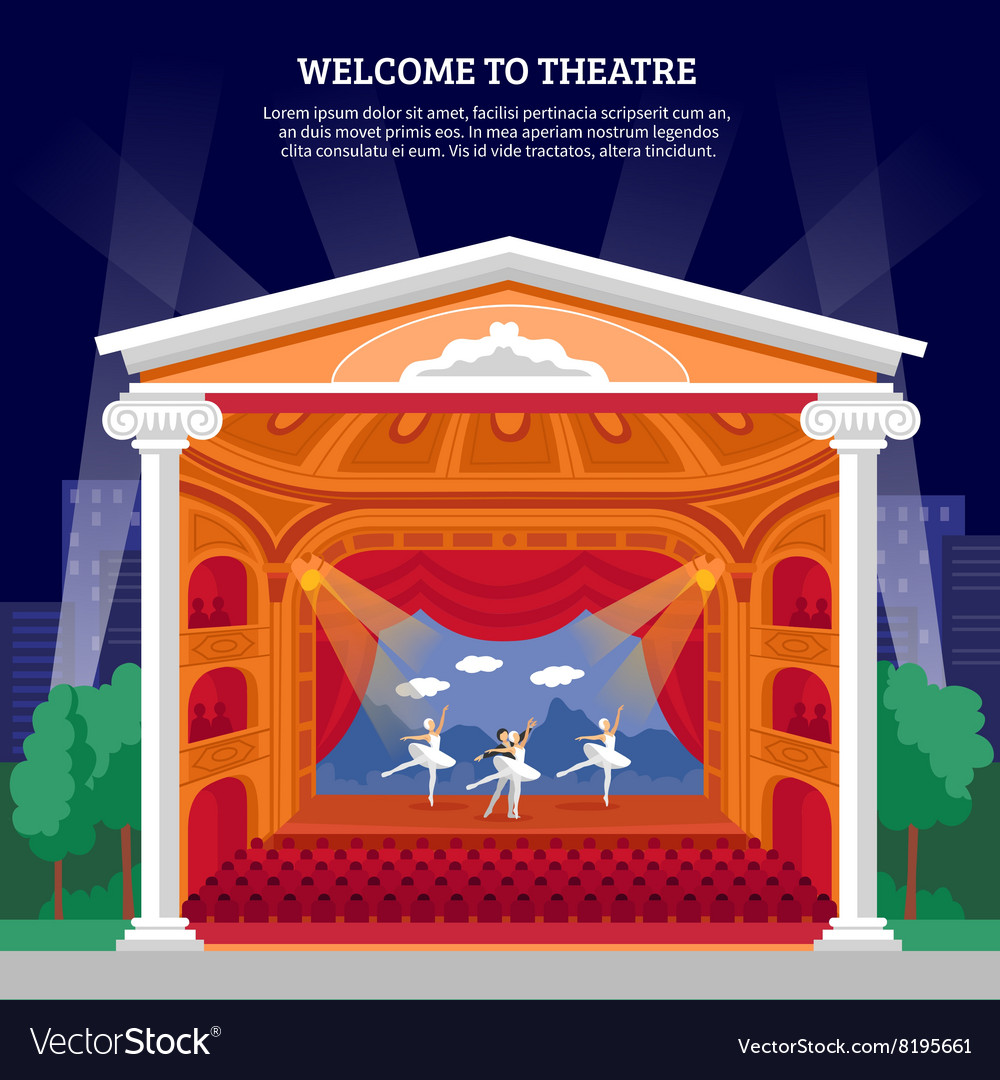 Tre performance playbill flat colorful print vector