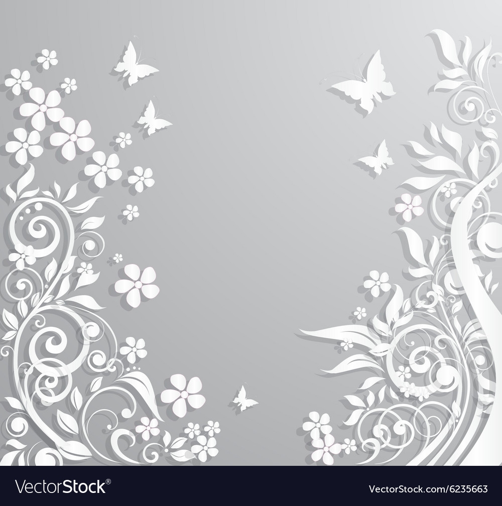 Abstract background with paper flowers and vector