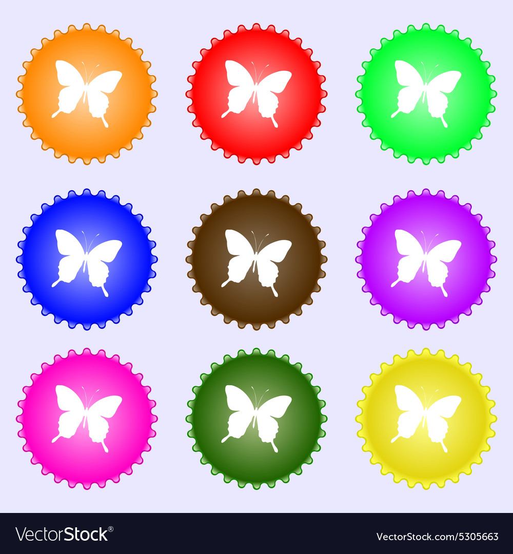 Butterfly icon sign a set of nine different vector