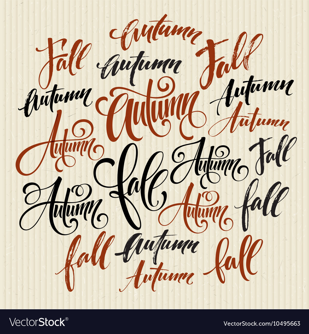 Season style lettering calligraphy graphic design vector