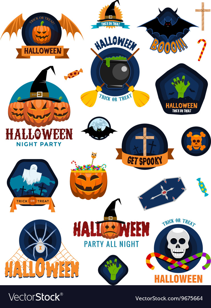 Halloween badges and labels vector