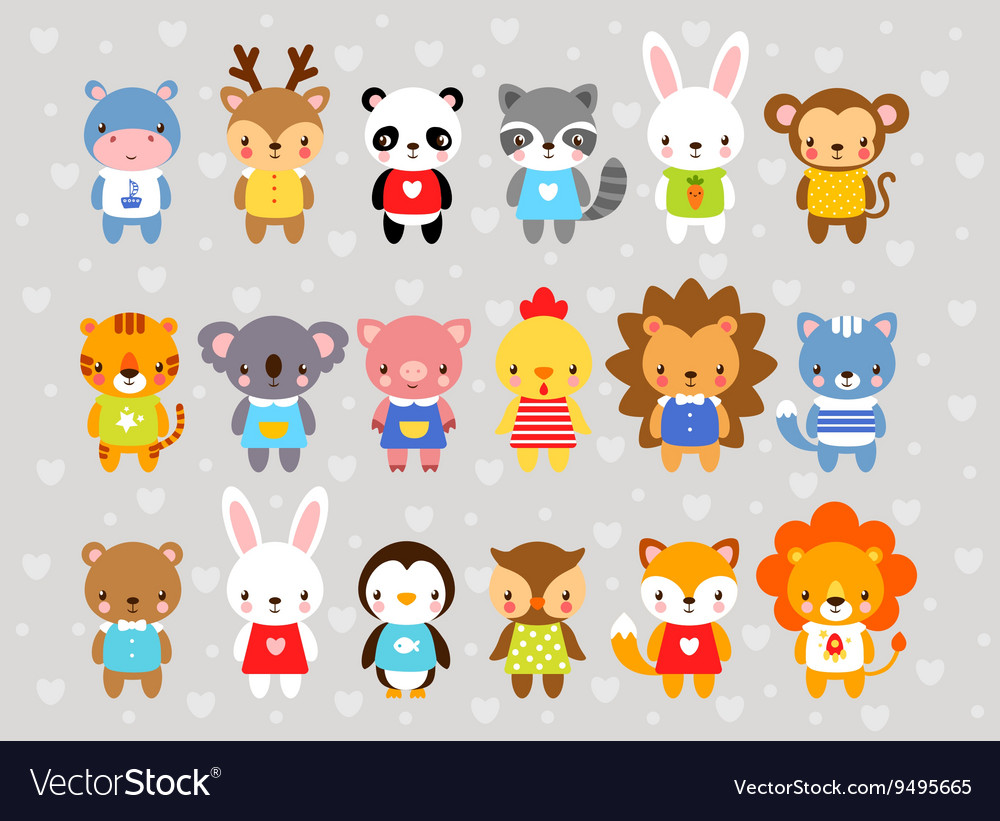 Set of animals in cartoon style vector