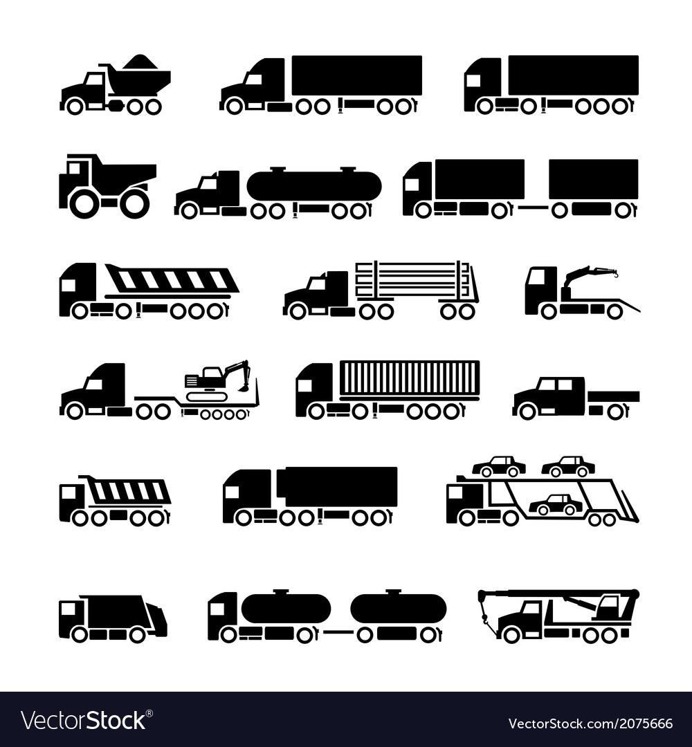 Trucks trailers and vehicles icons set vector