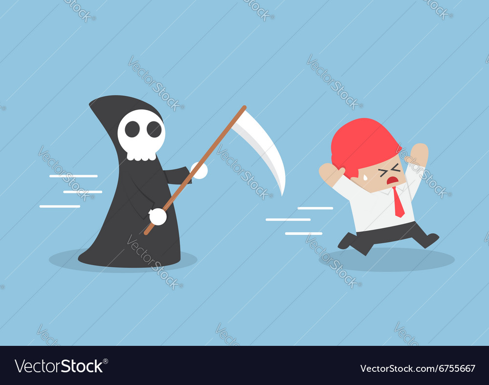 Businessman run away from angel of death vector