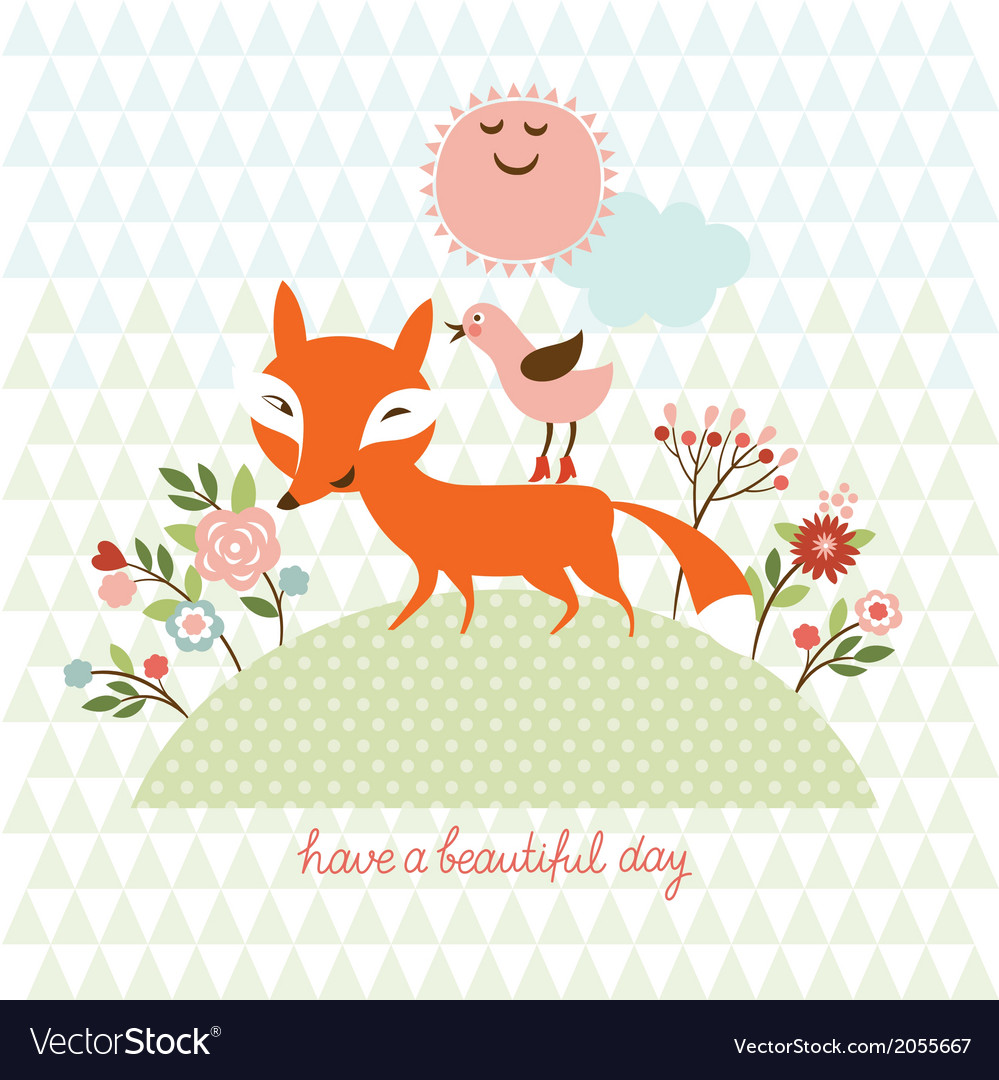 Cute fox and bird vector