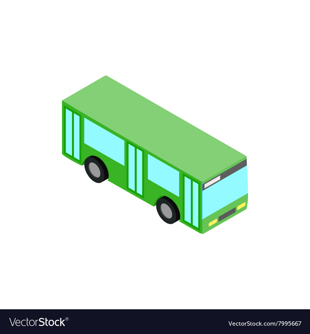 Green bus icon isometric 3d style vector