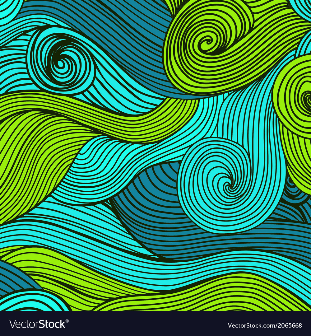 Abstract handdrawn waves texture wavy background vector