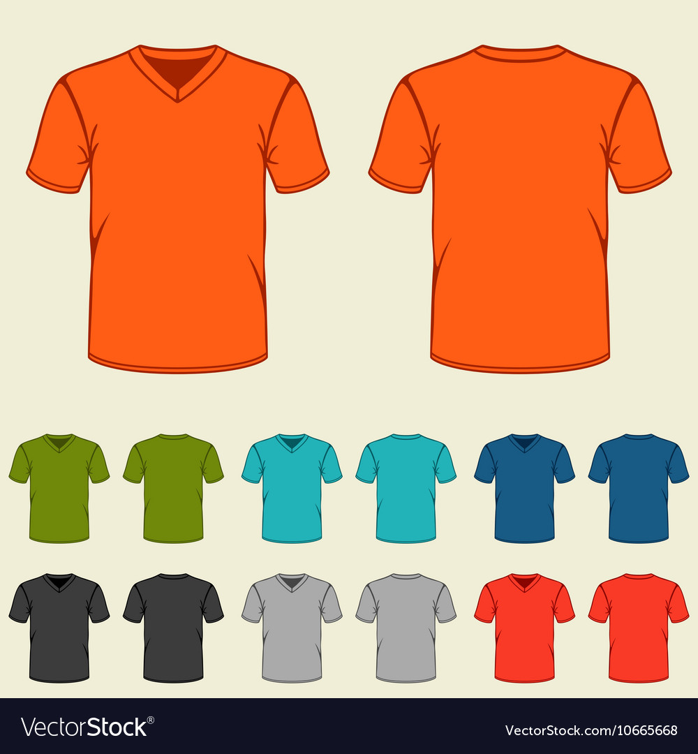 Set of colored tshirts templates for men vector
