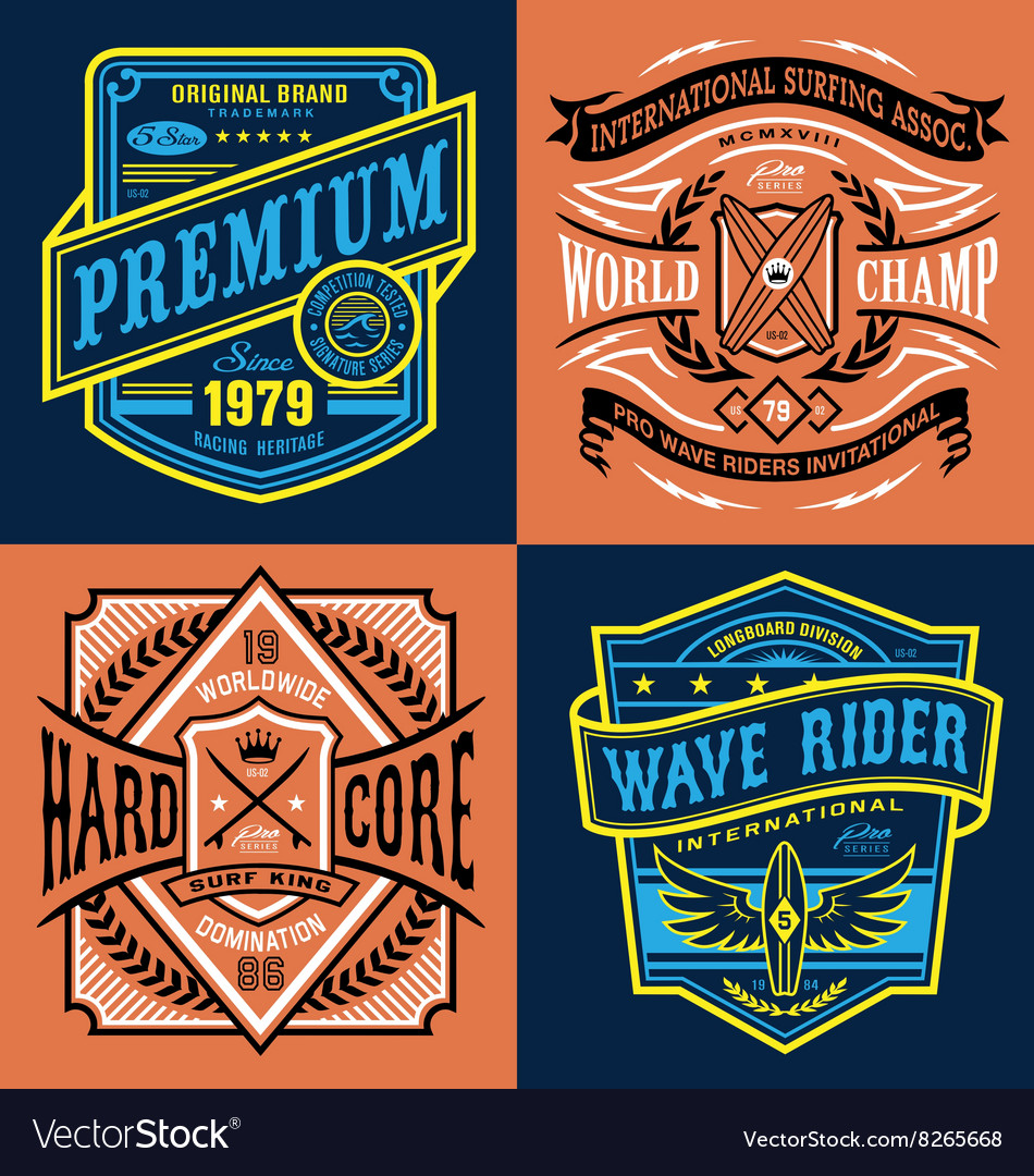 Vintage surfing tshirt graphic set vector