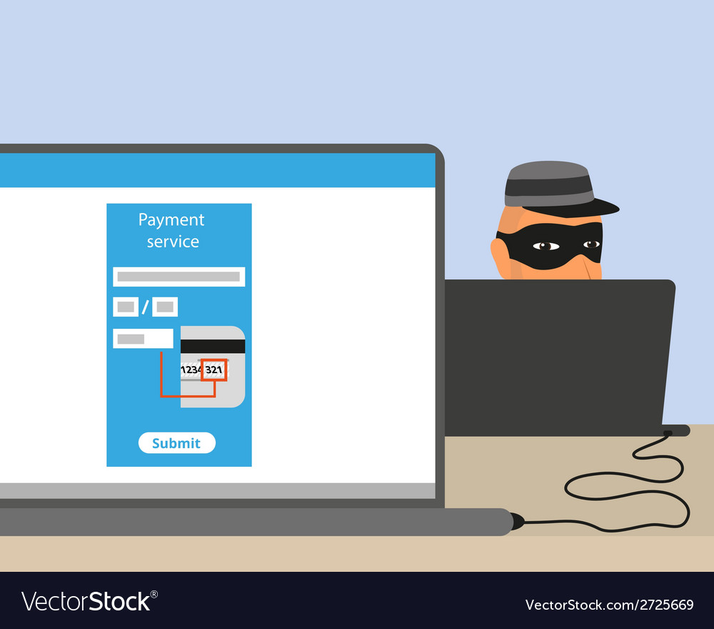 Thief connected to your laptop vector