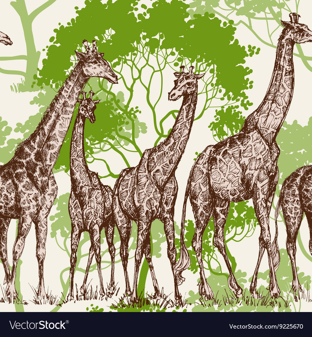 Animal print safari wallpaper giraffe in vector
