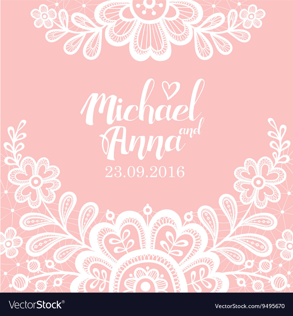 Greeting card with flower lace white vector