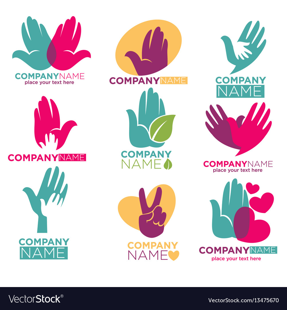 Hand heart icons for charity ot donation vector