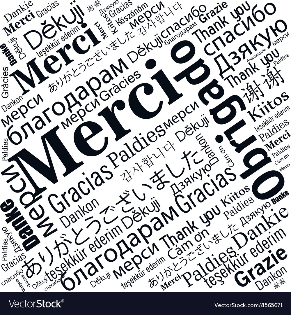 Thanks in different languages design vector
