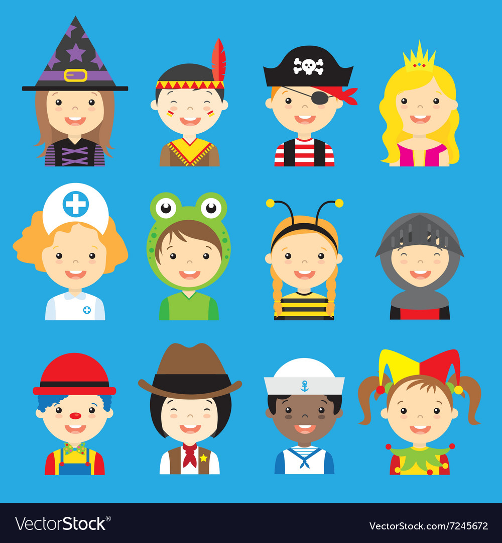 Children dressed avatar vector