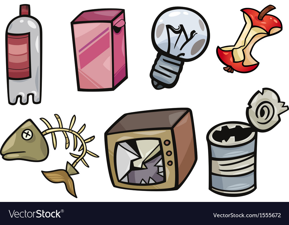 Garbage objects cartoon set vector