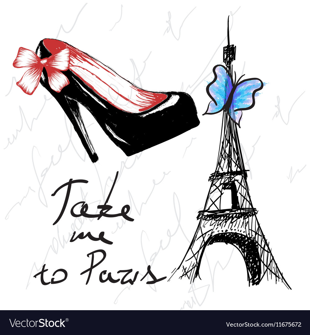 Vintage poster with woman shoe and eiffel tower vector