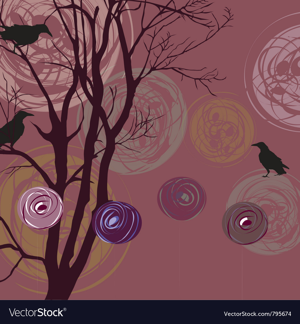 Background with ravens vector