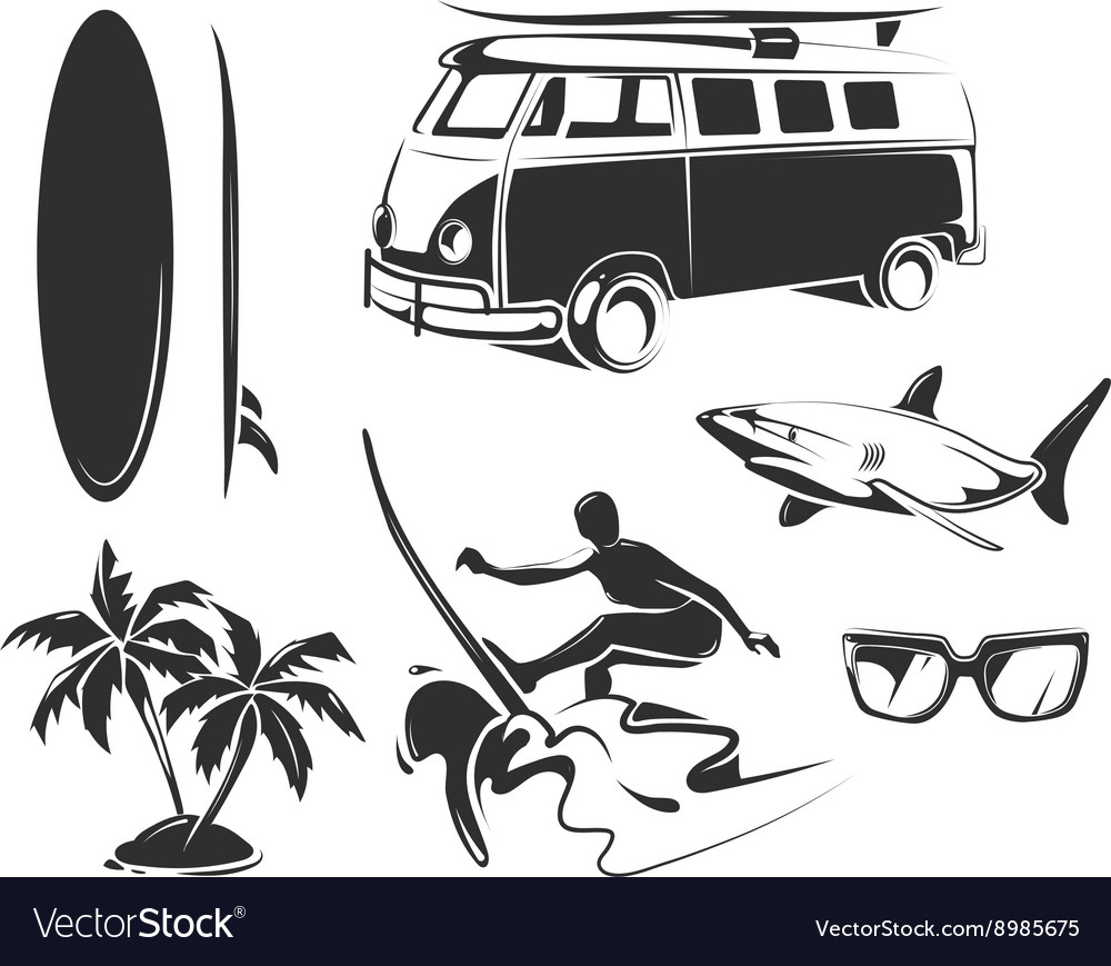 Elements for summer surfing vector