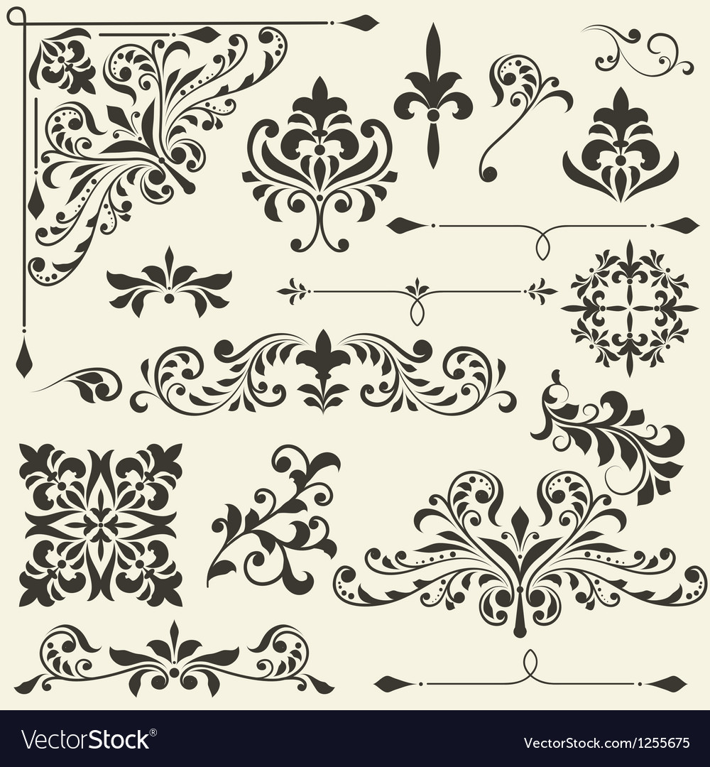 Vintage floral design elements vector