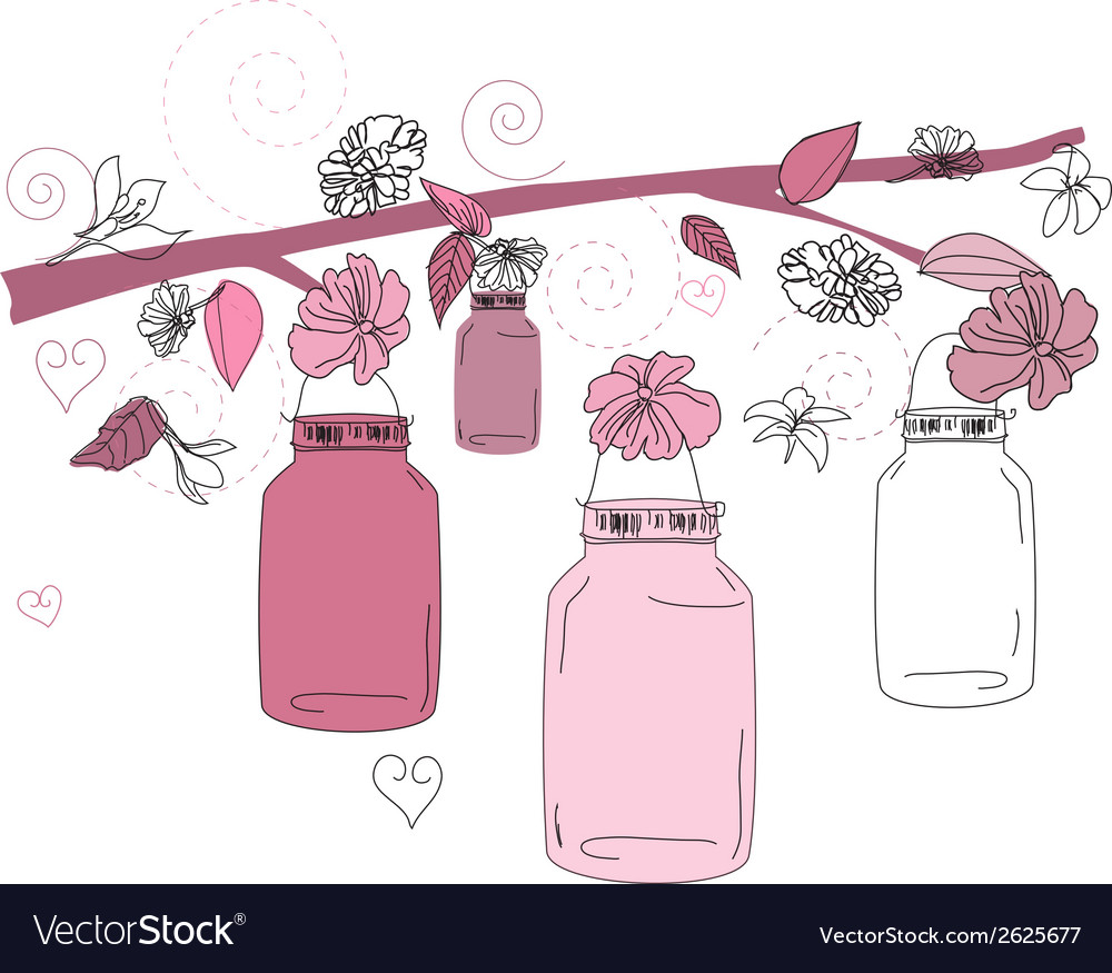 Mason jar flower scene vector