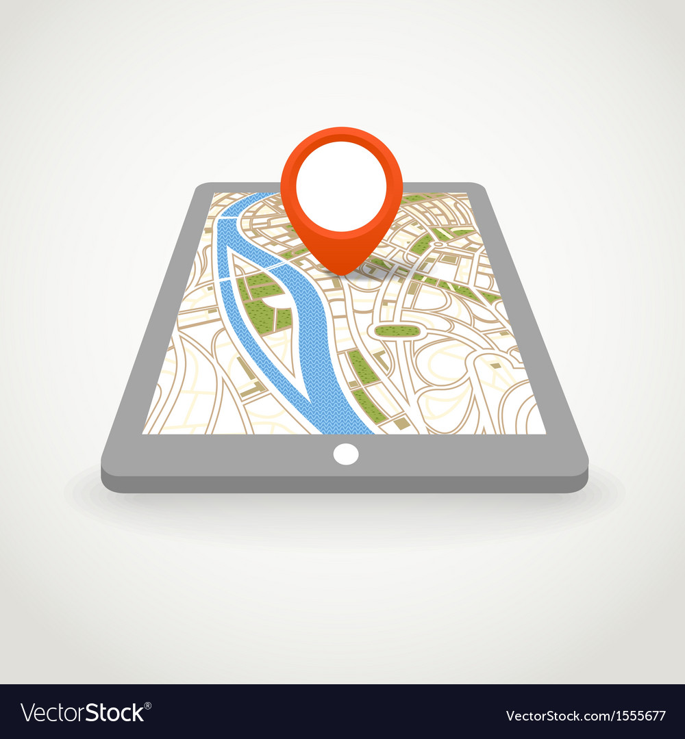 Modern gadget with abstract city map vector