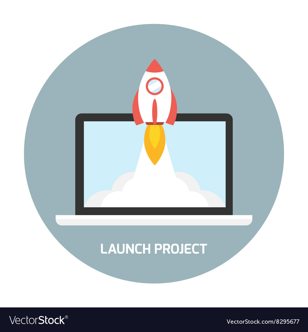 Rocket launch from the laptop vector