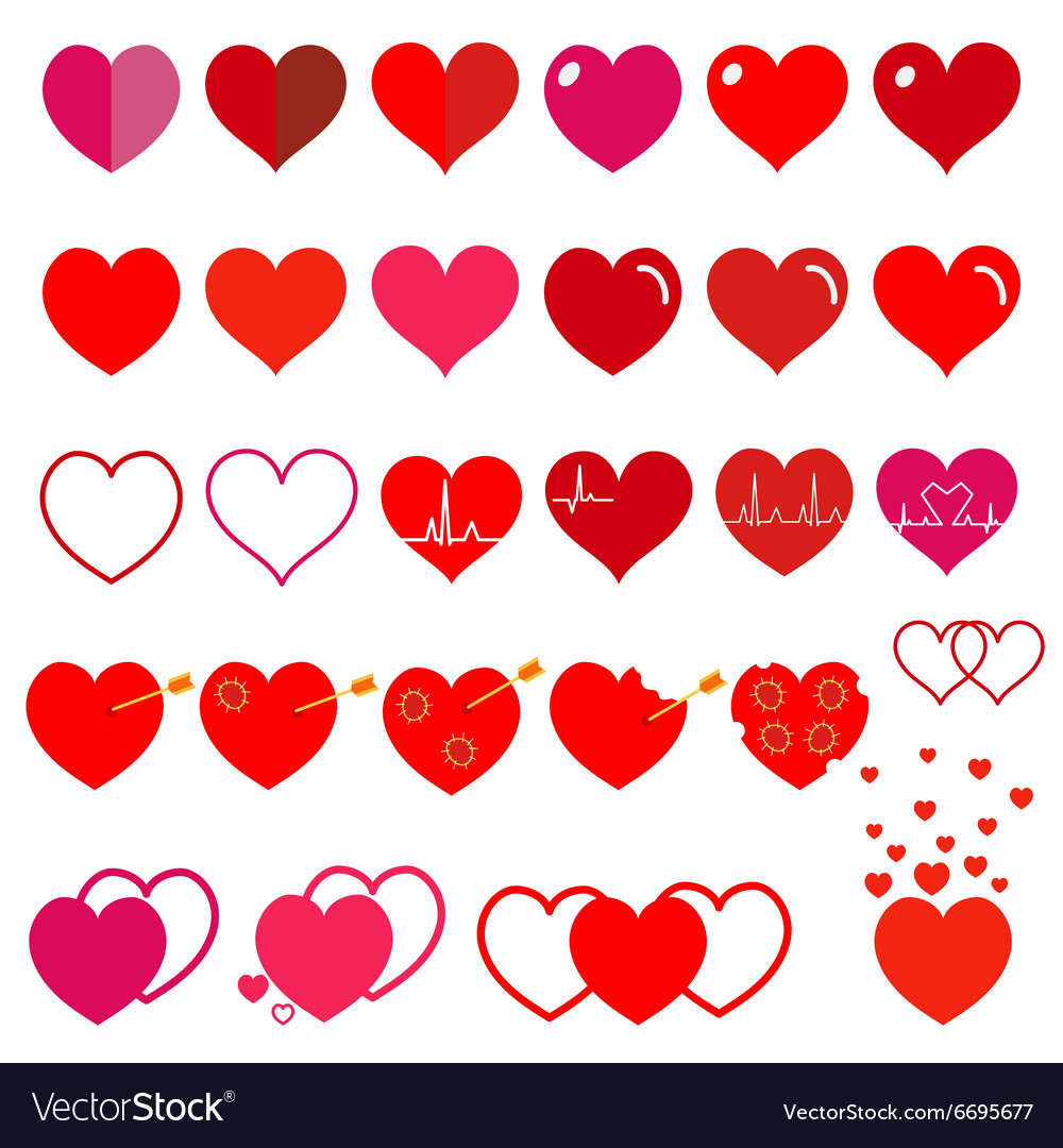 Set of red hearts vector
