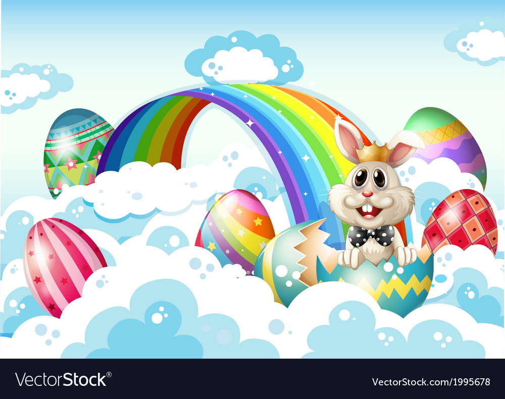 A king bunny at the sky with easter eggs near the vector