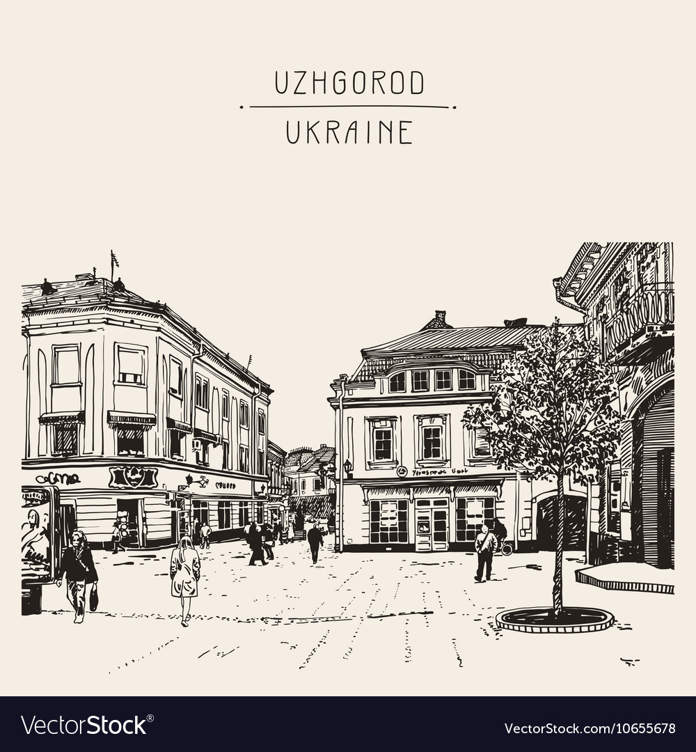 Sketch of uzhgorod cityscape ukraine town vector
