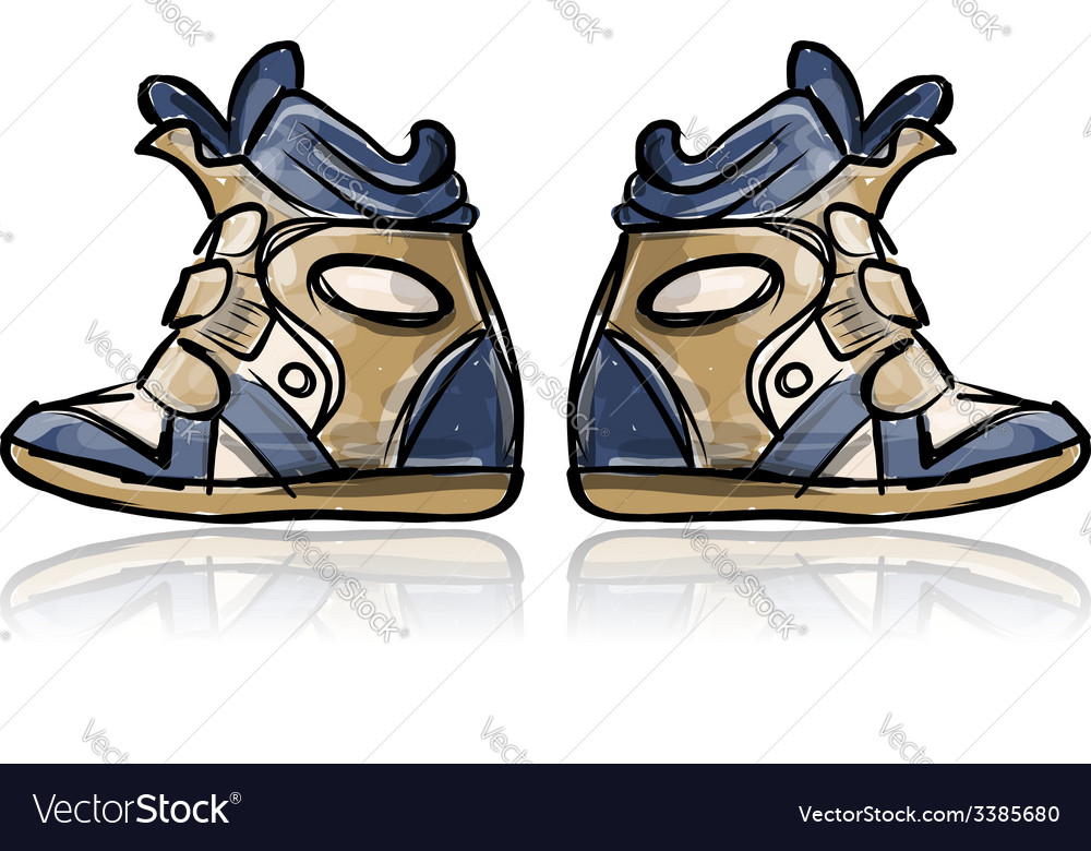 Female sneakers sketch for your design vector