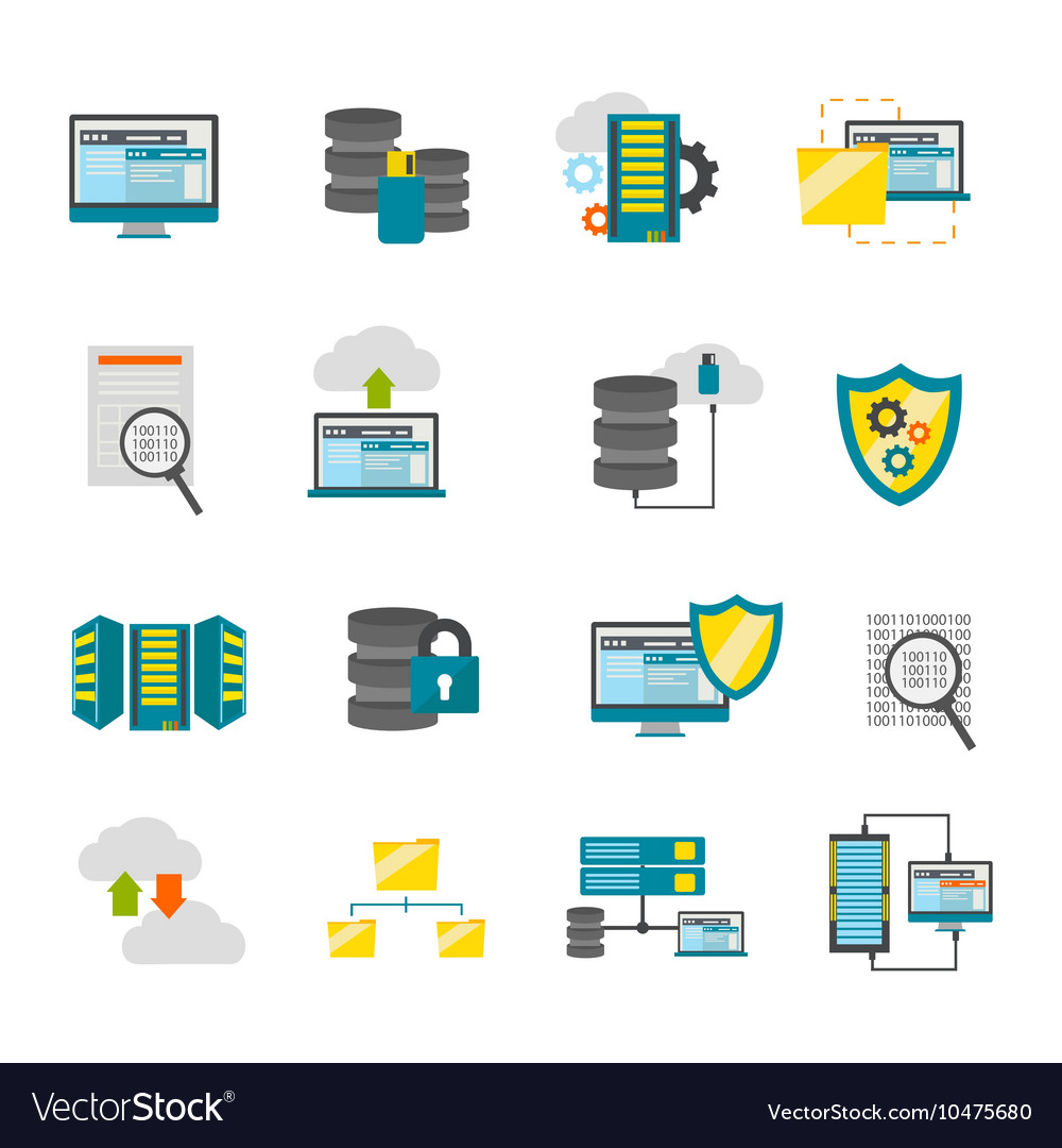 Flat datacenter icon set vector