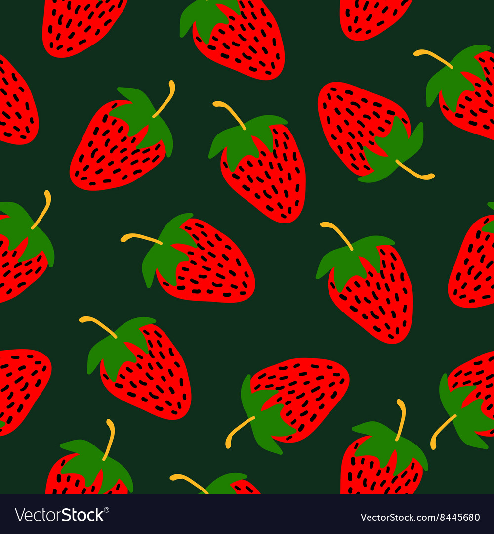 Strawberries hand drawn pattern vector