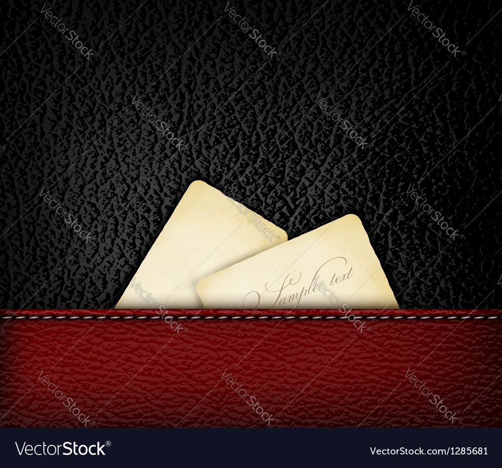 Black leather background with retro cardboards vector