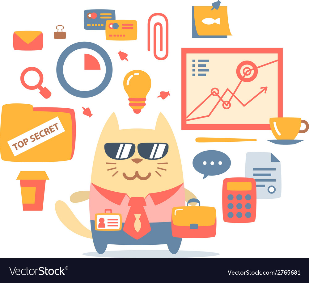 Character businessman in a business suit with a vector