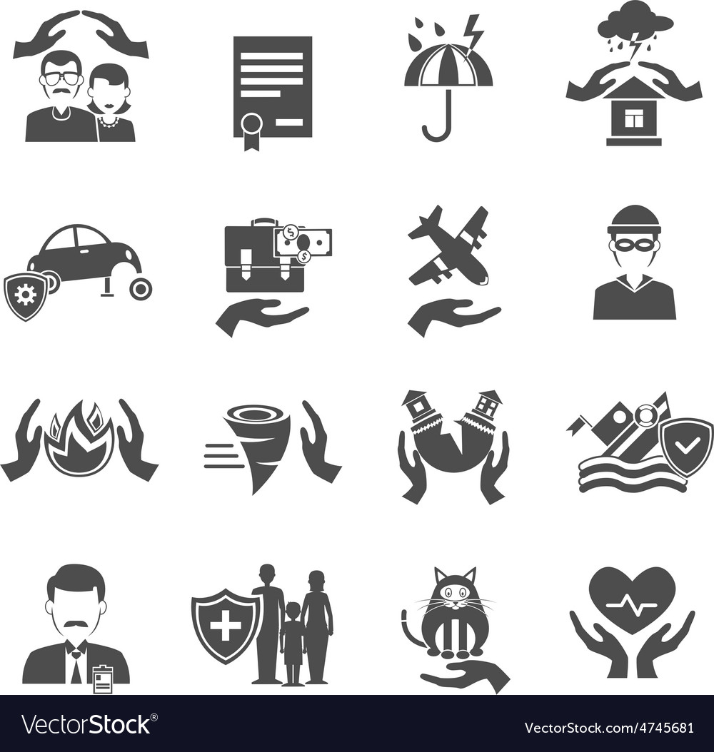 Insurance icons black set vector