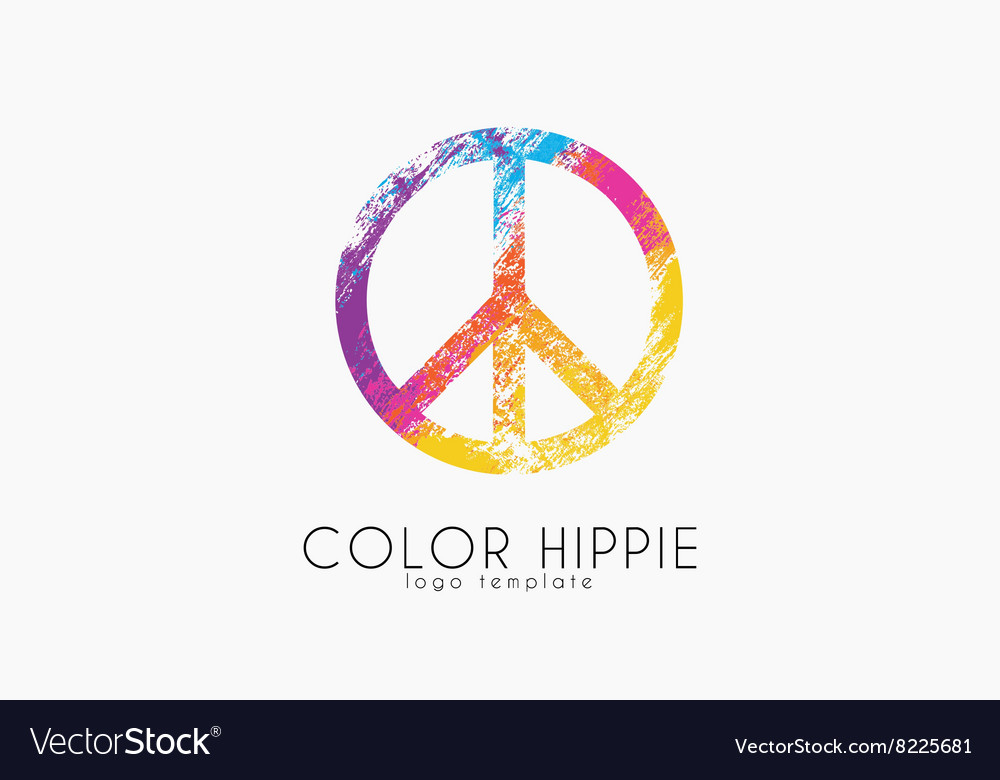 Make love not war  hippie style peace logo vector