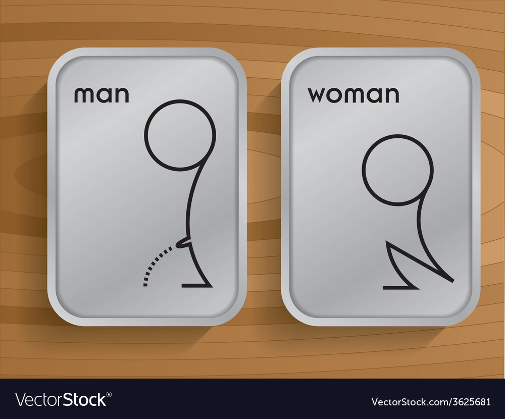 Toilet signs on wooden vector