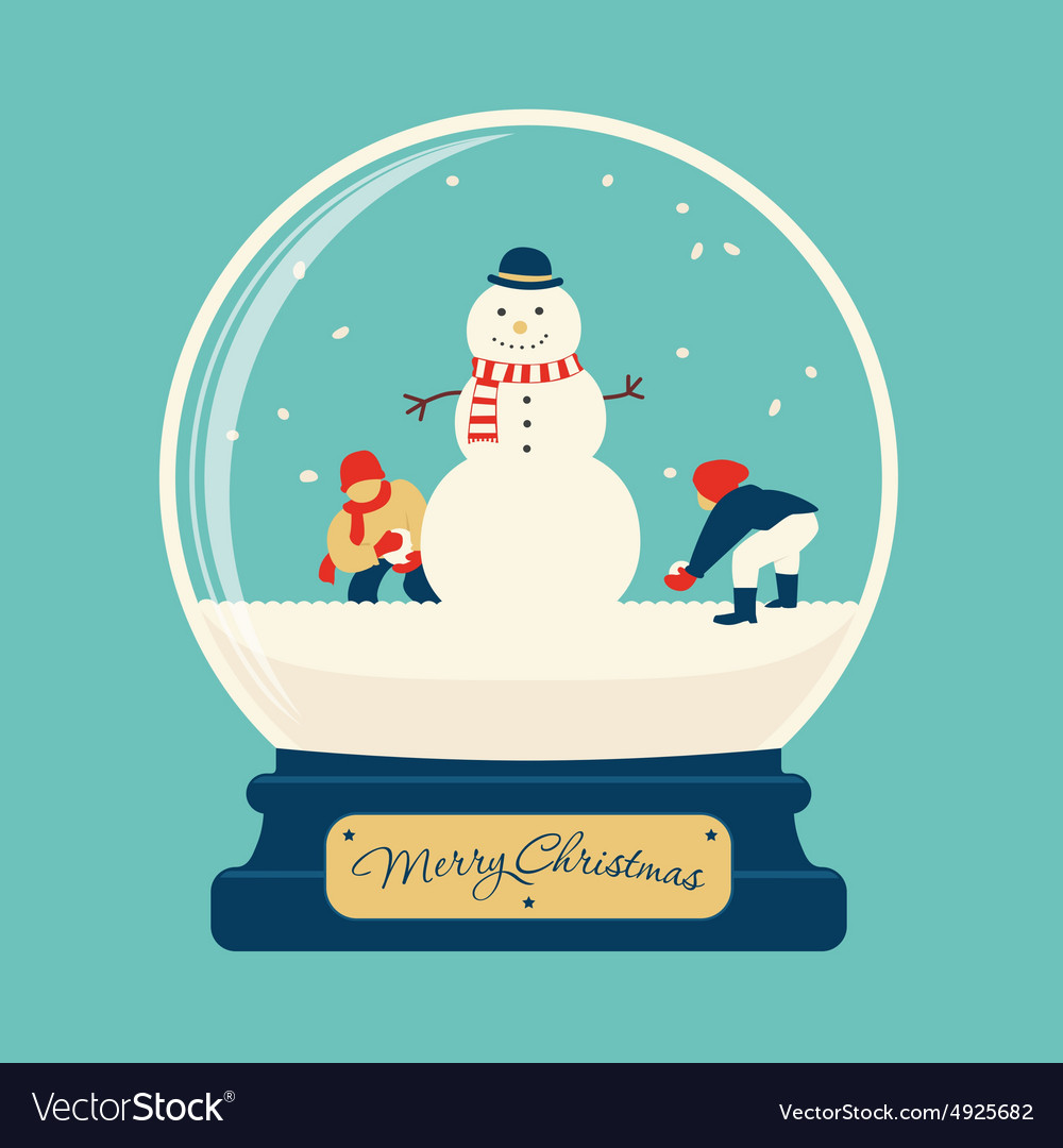 Merry christmas glass ball with snowman vector