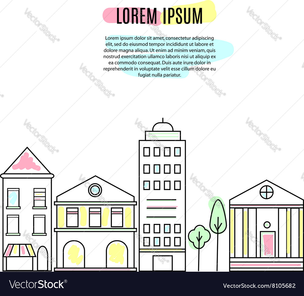 Outline city street view vector