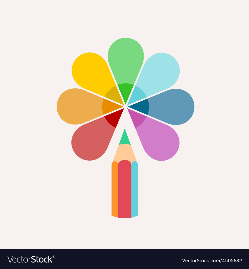 Pencil logo colored paint and icon vector