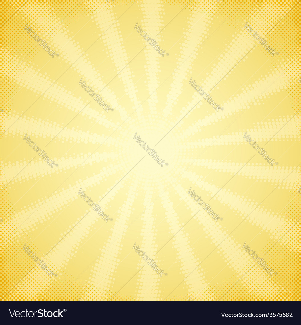 Vintage card with halftone sun rays vector