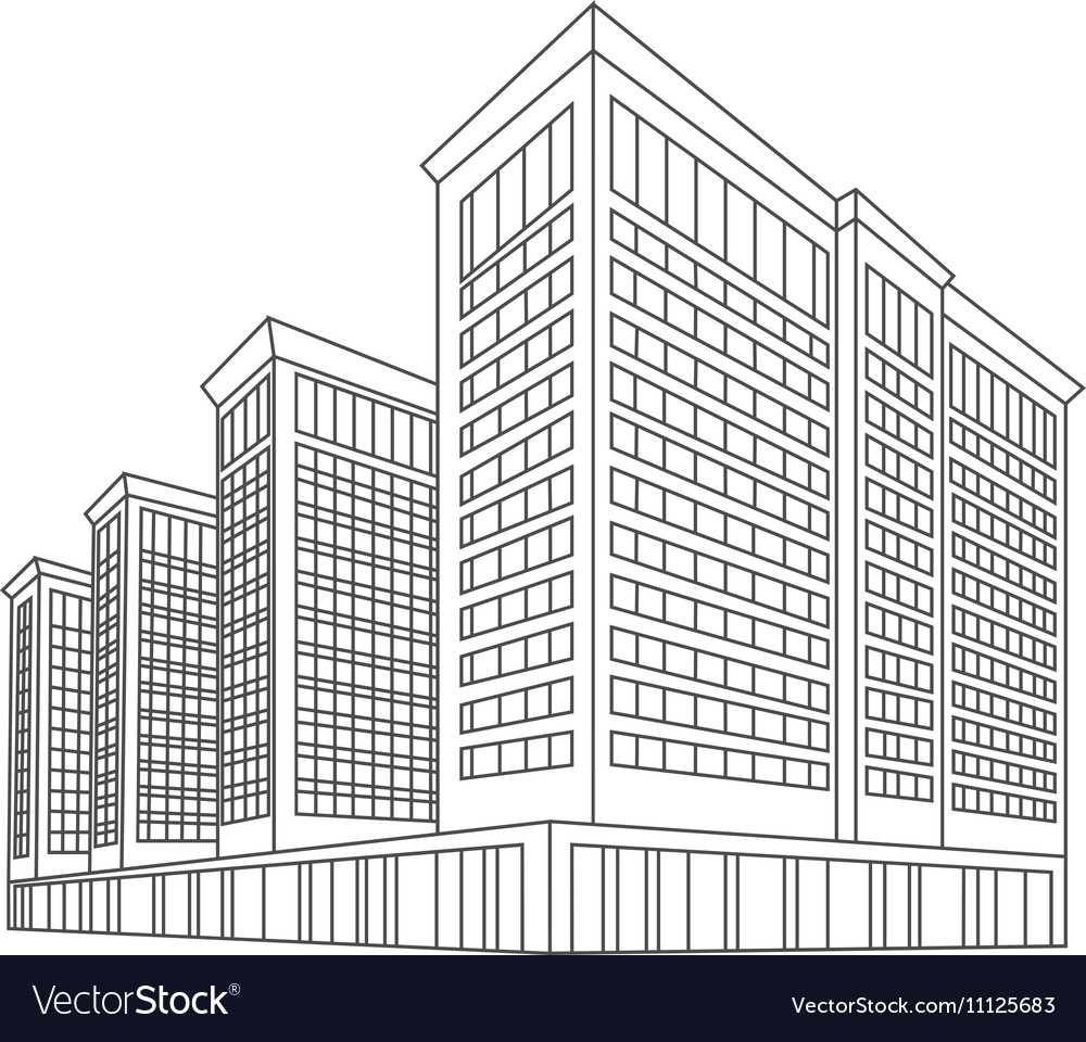 Logo silhouette of skyscrapers vector