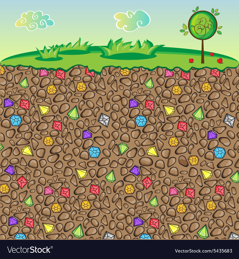 Nature stones and gems underground vector