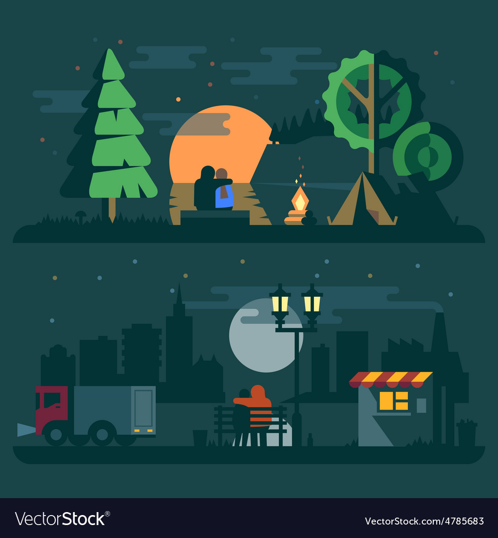 Romantic landscape with a couple in love vector