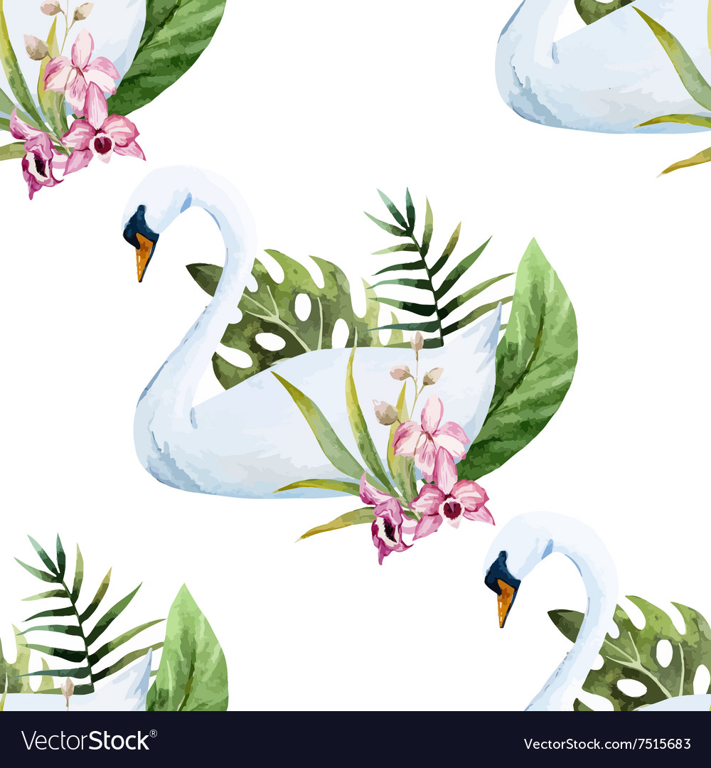 Watercolor swan pattern vector